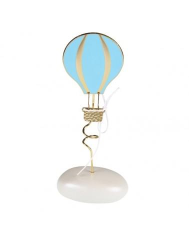 Μπομπονιέρα Βάπτισης Αερόστατο Γαλάζιο σε Βότσαλο / 4105Α