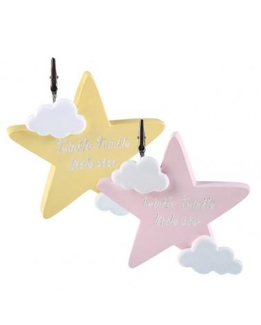 Μπομπονιέρα Βάπτισης Aστέρι Ροζ & Κίτρινο με Ευχούλα (σετ των 2) / 802B