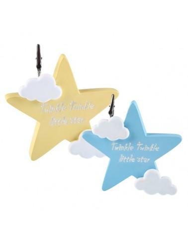 Μπομπονιέρα Βάπτισης Aστέρι Σιέλ & Κίτρινο με Ευχούλα (σετ των 2) / 802Α