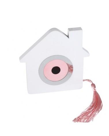 Μπομπονιέρα Βάπτισης Σπίτι με Ματάκι Ροζ Διακοσμητικό / 8913Α